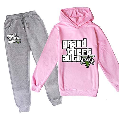 ZKDT Grand Theft Auto Pantalones con capucha de manga larga, 3D GTA 5, para niños y niñas, ropa de primavera y otoño 8 110 cm
