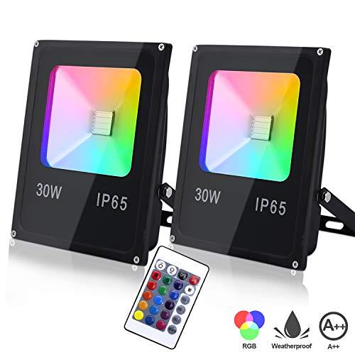 Hengda RGB LED Strahler Fluter Außen 2er Pack Farbig Fluter 30W mit Fernbedienung LED Flutlicht IP65 Wasserdicht Fluter für Garten Party