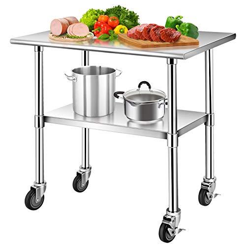 DREAMADE Mobile Edelstahl Arbeitstisch, Gastro Tisch Werkbank mit höhenverstellbarer Ablagefläche, Edelstahltisch Küchentisch mit Rollen Bremse für Küche Restaurant, max.250kg Kapazität