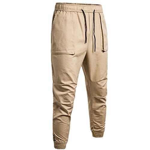 ZHANSANFM Cargo Hose Herren Hosen Jogging Pants Slim Fit Chinohose Dünn Knöchel Hosen Basic Casual Elastische Taille Trainingshose Sporthose Freizeithose Arbeitslatzhose (2XL, Khaki)