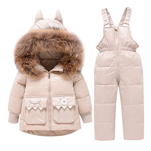 2 Piezas Bebé Invierno Traje de Esquiar Chaqueta de Plumas Niños Niñas Encapuchado Ajuste de Piel Cremallera Saco con Nieve Pantalones Beige 18-24 Meses