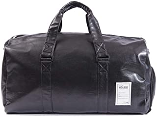 HaloVa Men's Duffel Bag, Weekender Travel Tote Bag, Unisex Overnight Shoulder Bag for Men and Women, with Detachable Shoulder Strap and Independent Shoes Compartment, Black, Small