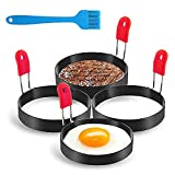 Egg Rings, 4 Pack Stainless Steel Egg, Scald Handle Cooking Rings, Pancake Mold for Frying Eggs and Omelet (Oil Brush Included)
