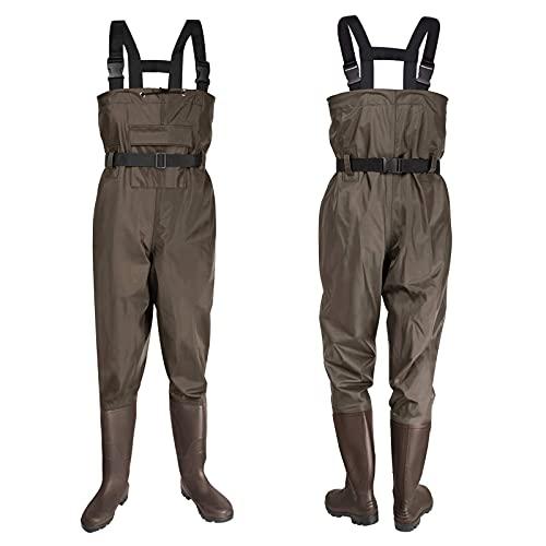GXFXLP Vadeadores de Pesca Impermeables, Waders Transpirables con Botas, Pantalones de Estanque con Tirantes Ajustables, Ropa Pantalones de Nylon/PVC para Hombres,UK 9/EU 43