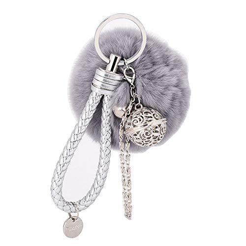 F.anlos Schlüsselanhänger, Plüsch Schlüsselanhänger, Schlüsselanhänger Damen, Bommel Schlüsselanhänger, Plüsch-Auto-Schlüsselring, Weich Keychain Handtaschenanhänger Dekor