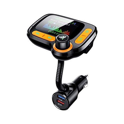 LORIEL Bluetooth 5.0 FM transmisor, Reproductor de automóviles MP3 Pantalla a Color/Dual USB QC 3.0 Tarjeta de Puerto rápido/TF/U-Disk Music Play/Llamada telefónica Manos Libres