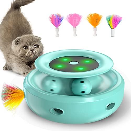 goopow interaktives katzenspielzeug, Hinterhalt mit Kugelbahnen 2-in-1-katzen Spielzeug mit 4 austauschbaren Federn, unterstützt Bunte LED-Leuchten katzenspielzeug für Katzen/Kätzchen (Grün)