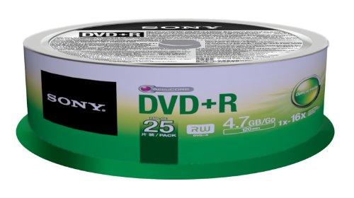 Sony 25DPR47SP DVD+R Rohlinge (16x Speed, 4,7GB, 120 Min, 25-er Stück Spindel)