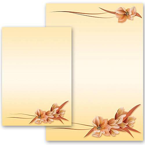 50 Blatt Briefpapier Blumenmotiv BLÜTENBLÄTTER - DIN A4 Format | Paper-Media