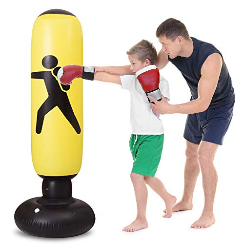 WHIRLGEE Kids Punching Bag, Inflatable Punching Bag for Kids 63Inch Freestanding Kids Boxing Punching Bag Bounce Back for Practicing Karate,...