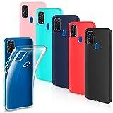 Leathlux 6 × Schutzhülle für Samsung Galaxy M31 aus weichem Silikon TPU Schutzhülle Bumper Hülle Cover Schutzhülle für Samsung Galaxy M31, transparent, Rosa, Minze, Grün, Dunkelblau, Rot, Schwarz