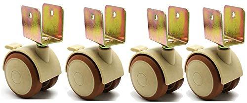 DPJ - Ruedas giratorias de 50 mm, 4 ruedas con ruedas, frenos en forma de U, silenciosas, para cuna de bebé, soporte para flores, 25 mm