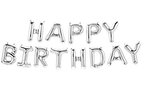 Deggelbam Globo con Texto Happy Birthday, para cumpleaños, decoración de cumpleaños, tamaño XXL, con Letras de 40 cm