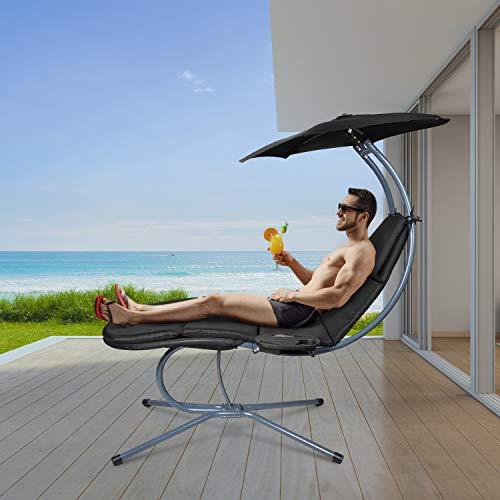RANSENERS® Schaukelliege Sonnenliege Gartenliege Relaxliege mit Verstellbarer Sonnenschirm und Getränkebecherhalter, bis 160kg belastbar, mit Deutschem TÜV-Bericht, Schwarz - 6