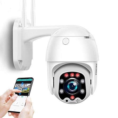 AINSS Cámara de vigilancia WiFi Exterior,Cámara de Seguridad IP CCTV PTZ,1080P HD visión Nocturna,detección de Movimiento,Alarma,Voz bidireccional,para Garaje/Puerta,Impermeable (Cámara WiFi)
