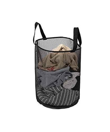 ALYER Freestanding Mesh Laundry Hamper Hanging Collapsible Dirty Clothes Bag Laundry Basket with Durable Handles M Black