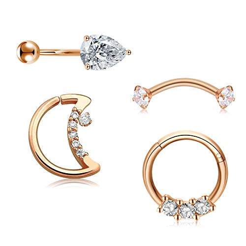 Mayhoop 4Pcs 16G Rook Earrings Surgical Steel Rose Gold Moon Shaped Closure Ring Segment Clicker Ring with Zircon Curved Bar Barbell Daith Conch Cartilage Earrings Eyebrow Rings