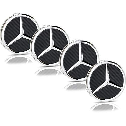 Genuine New OEM Mercedes Chrome Roue Alliage Centre Hub Caps 75 mm en noir