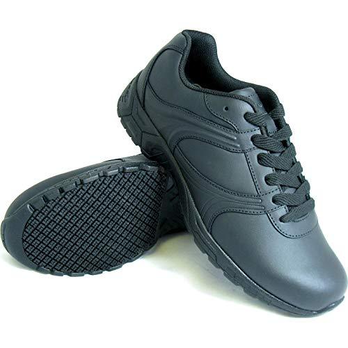 Genuine Grip Footwear Men's Slip-Resistant Athletic Plain Toe Work Shoes Black Leather 11 M