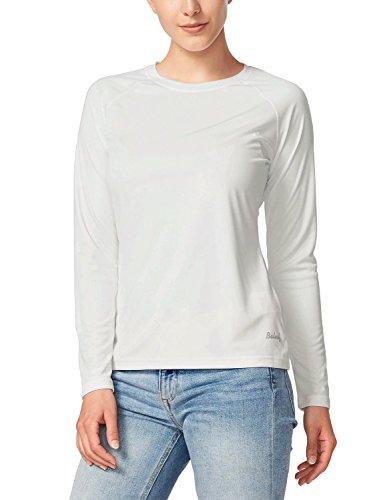 BALEAF Women's UPF 50+ Sun Protection T-Shirt Long Sleeve Outdoor Performance White Size M