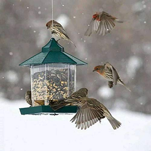 SKYROPNG Vogelfutterspender,Hanging Garden Pavillon Container Zuführstationen, Kleine Wild Bird Utensilien Essensautomaten, Für Outdoor Vogelkäfig Balkon Haustier Verbrauchsmaterial Zubehör