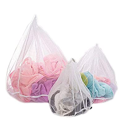 3PC Mesh Laundry Bags for Delicates,Reusable Drawstring Laundry Washing Bag  for Bra, Lingerie, Socks, Tights, Stockings, Baby Clothes (Set 3 sizes)