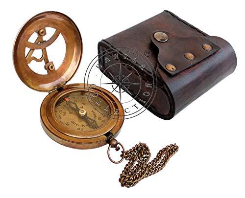 Hanzla Collection West London Antiker Taschen-Sonnenuhr, Messing-Kompass mit Lederetui, 7,6 cm