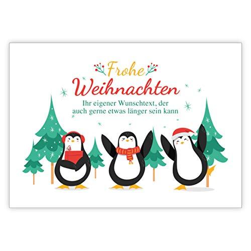 De set: grappige kerstkaart met dansende pinguïns in het bos • Kerstwenskaarten incl. enveloppen naar Nieuwjaar, oudejaarsavond voor familie, vrienden, collega's van de firma 1 Custom Weihnachtskarte wit