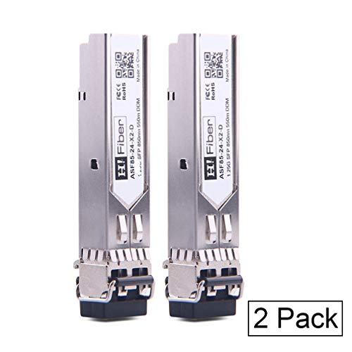 H!Fiber.com Gigabit SFP Multimode Transceiver, 1000Base-SX LC Modul(550m, 850nm) für Cisco GLC-SX-MMD, Ubiquiti, Netgear, TP-Link, D-Link, Linksys, Mikrotik and Other Open Switches, 2 Pack