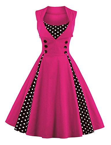 vintage dresses 1950 s Clasic Audrey Hepburn 50s Vintage Swing Dresses HOTPINK S