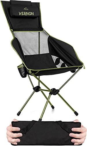 normani Ultraleichter Campingstuhl mit hoher Rückenlehne, integrierten Armlehnen und Kissen - Outdoorstuhl Faltstuhl Strandstuhl Reisestuhl Anglerstuhl - Traglast 150kg Farbe Oliv