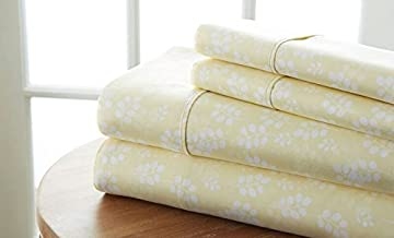 Becky Cameron Printed Wheatfield Patterned Quality 4 Piece Sheet Set, King, Ivory