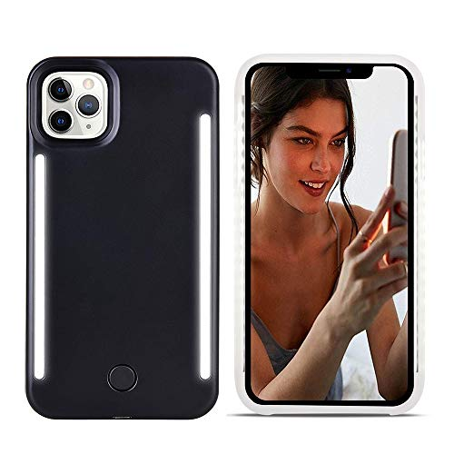 Selfie Light up Case for iPhone 11 Pro Max,LNtech Rechargeable LED Light Up Flash Lighting Selfie Case Dual Side Flashlight Illuminated Cover [Dimmable Switch] (Black, iPhone 11 Pro Max)