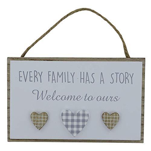 """Placa de madera con texto en inglés """"Family Has A Story Welcome To Ours"""", diseño de corazones en 3D, color gris y blanco, 7 colores de madera natural con cordón para colgar de yute 76222"""