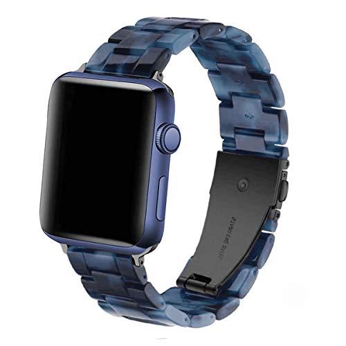 DEALELE - Correa de repuesto compatible con iWatch de 38 mm, 42 mm, 40 mm, 44 mm, resina colorida para Apple Watch Series 5, Series 4, Series 3, para hombres, color azul, 42 mm y 44 mm