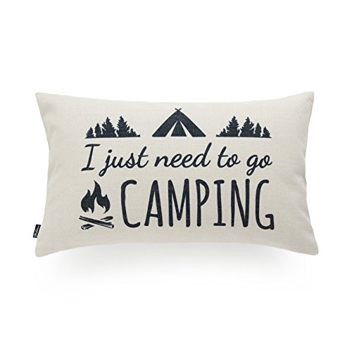 Hofdeco Decorative Cushion Cover HEAVY WEIGHT Cotton Linen Spirit Quotes I Just Need to Go Camping Word 30cmx50cm
