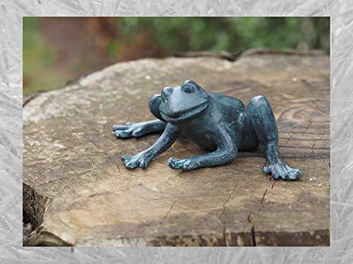 IDYL Escultura de rana de bronce   8 x 12 x 21 cm   Figura de animal de bronce hecha a mano   Escultura de jardín o estanque   Artesanía de alta calidad   Resistente a la intemperie