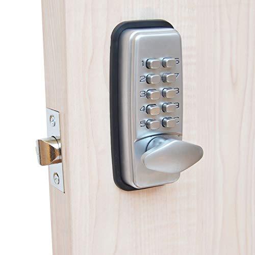 Cerradura digital para puerta con código de bloqueo de HomeSecure, resistencia meteorológica, cromada.