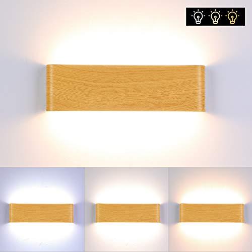 ENCOFT LED Wandleuchte Holz 16w Moderne Wandlampe Dimmbare drei Farben Flurlampe Nachtlampe, Schlafzimmer Treppenhaus Flur Wandbeleuchtung Innenbeleuchtung (31cm)