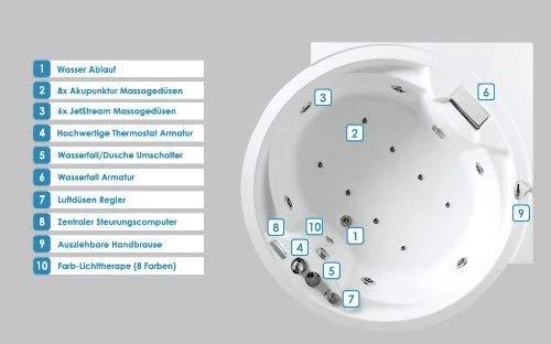 Whirlpool Badewanne Florenz mit 14 Massage Düsen + Heizung + Ozon Desinfektion + Beleuchtung / Licht + Wasserfall + Radio – Eckwanne Sprudelbad Jakuzzi indoor / innen günstig - 8