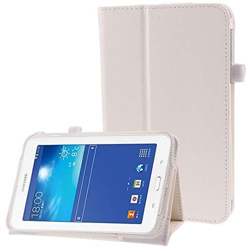 PANPAN Fundas Protectoras Compatible para Tablet PC Funda de Cuero con Tapa de Textura de Litchi Compatible para Samsung Galaxy Tab 3 Lite T110 / T111 (Color : Blanco)