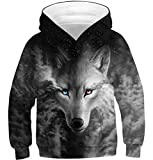 Teen Boys Girls Hoodies Casual Cool Hooded Sweatshirts Tops 3D Print Black Galaxy Wolf Toddler Kids Pullover with Pockets