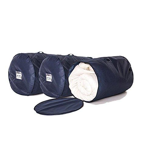 HangerMaster Breathable Duvet Storage Bag - 3 Pack (Large, Navy)