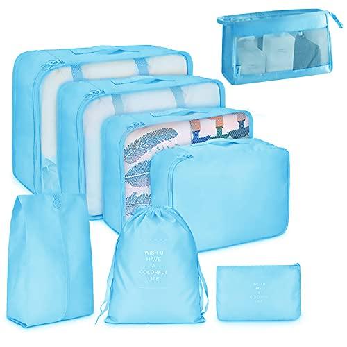 MXFYY Cubo da Viaggio,Set da 8 Pezzi di Cubo da Viaggio,Borsa Portabagagli Leggera,Borsa Portabagagli Pieghevole per Valigia Bagaglio A Mano,Bright Blue