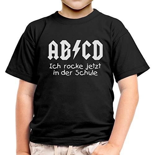 Zur Einschulung - AB'CD Ich Rocke jetzt in der Schule Kinder Jungen T-Shirt 116 Schwarz