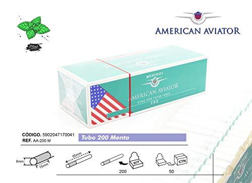 AMERICAN AVIATOR 1000 Tubos Vacíos Mentolado con Filtro de 8 mm x 15mm para Tabaco de Liar (5 cajas de 200), fabricado en EU
