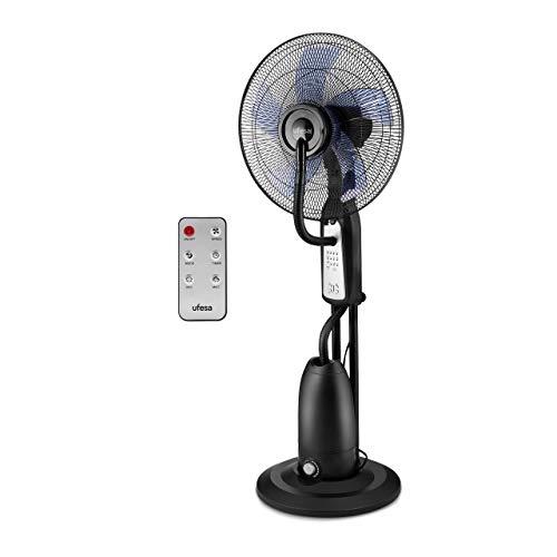 Ufesa MF4090 - Ventilador nebulizador, mando a distancia, 3 modos, temporizador 7.30 h, diámetro 40 cm, Negro