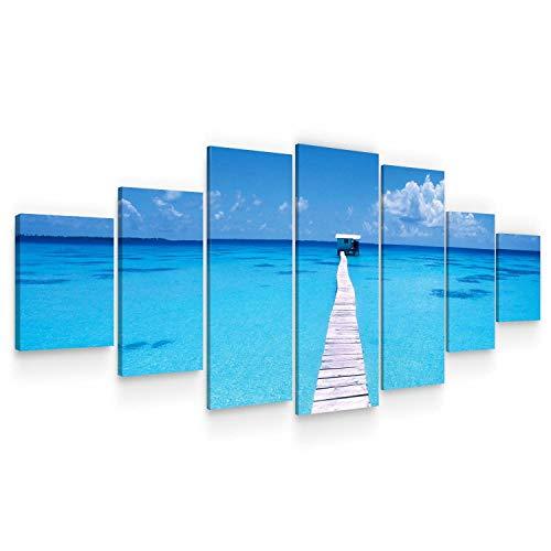 Startonight Grande Cuadro sobre Lienzo Pontón en la Playa, Impresion en Calidad Fotografica Enmarcado y Listo para Colgar Diseño Moderno Decoración XXL Formato Multipanel 7 Piezas 100 x 240 CM
