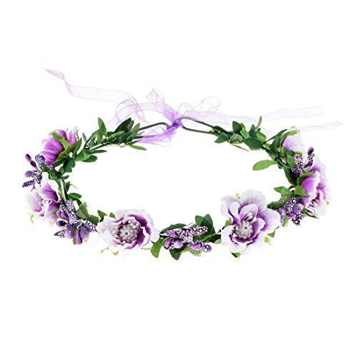 Vividsun Wedding Hair Wreath Floral Garland Crown Headpiece Adjustable Rose Flower Crown (A-purple)
