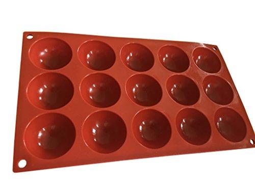 ROYAL HOUSEWARE 15 Halbkugeln Bällchen Silikonform Backform Schokoladenform Kuchenform Eiswürfelform Pralinenform Cupcake Keks Kuchen Basteln Backen Verzieren Eckige Runde Form